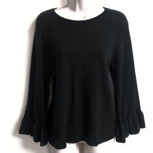 LOFT bell sleeve black soft wool sweater small